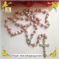 Free shipping beautiful flower  design 6mm  glass round bead rosary necklace silver chain rosary religious rosario