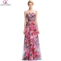 Grace Karin 2016 Vintage Floral Print Red Long Evening Dresses Chiffon Prom Gowns Floor Length Formal