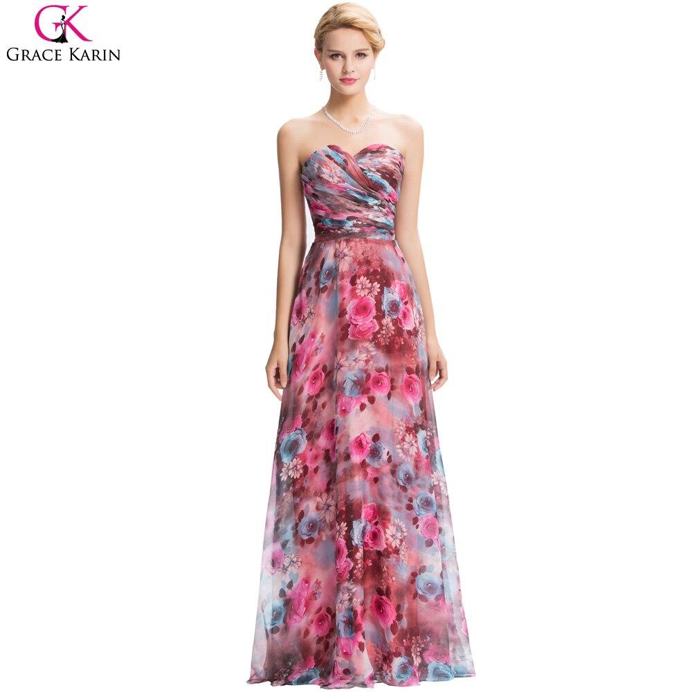 Tienda Online Grace karin 2017 vintage floral print rojo largo ...