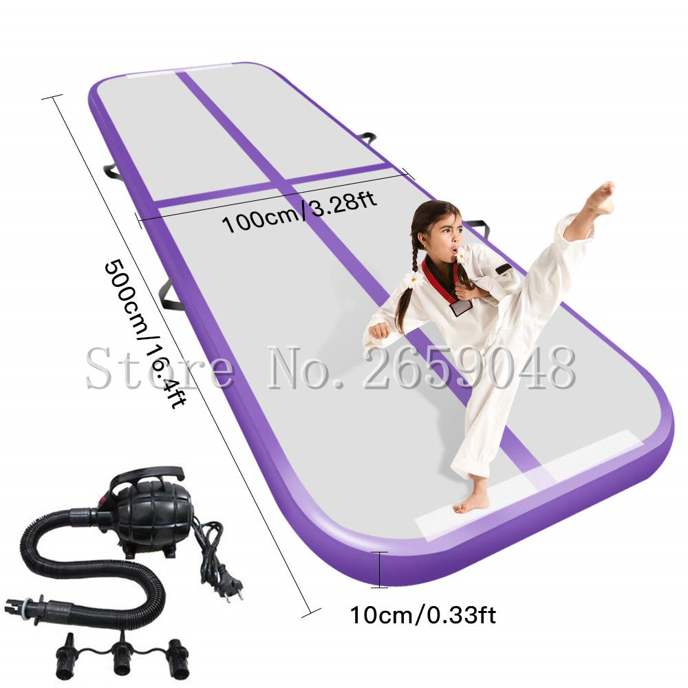 Free Shipping 5*1*0.1m Air Track Gymnastics Tumbling Mat Inflatable Air Floor Mats with Electric Air Pump for Home