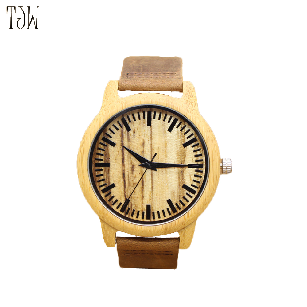 TJW 2018 primary zone of environmental protection Leather bamboo watch Ebony watch crazy horse leather strap