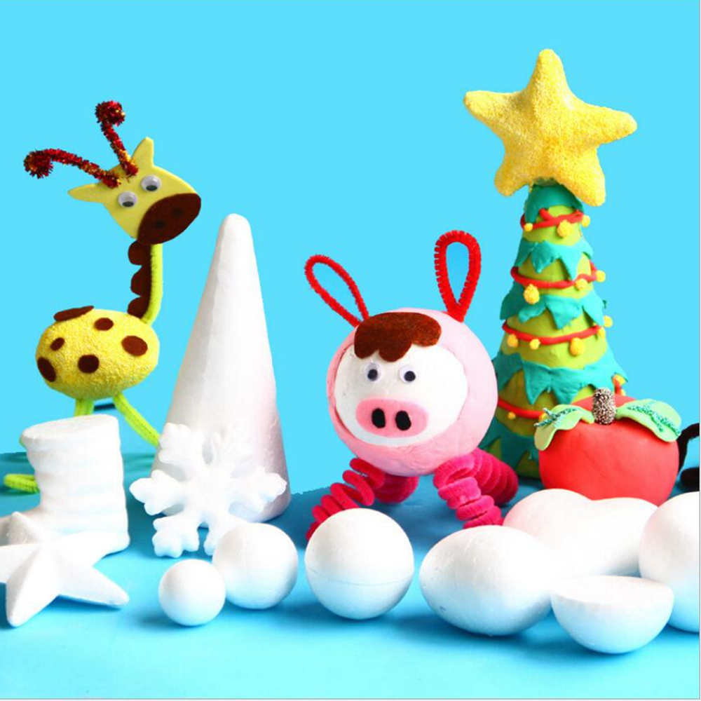 1pcs/lot 6cm Egg 8.5cm Love 19cm Star Artificial Foam Plastic Creative EPS Solid Forming Foam DIY Christmas Decoration