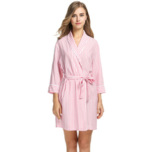 Women's 3/4 Sleeves Striped Robe