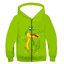 Kids zip Hoodie Kawaii Zebra crocodile giraffe Dog 3D print Hoodies Baby Girl clothing Cartoon jacket boy Long sleeves tops 02