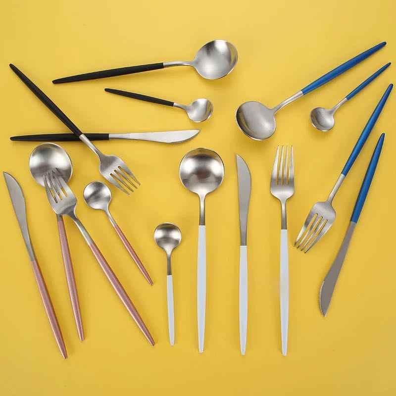 24 ชิ้น/เซ็ตชุด Flatware 304 สแตนเลสสตีลช้อนส้อมชุดอาหารเย็นมีดส้อมชุดอาหาร Gold Plate Drop Shipping