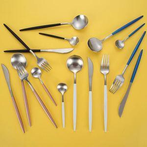 Image 3 - Juego de cubiertos de acero inoxidable 304, conjunto de cubiertos negro, conjunto de tenedor y cuchillo, vajilla, plato dorado, 24 unidades