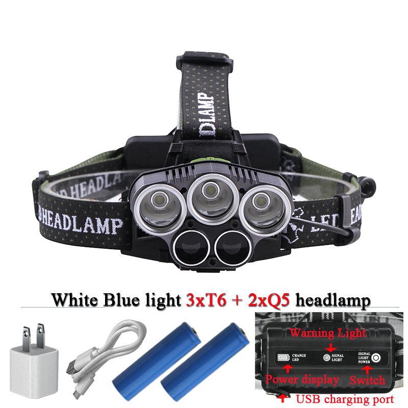 Blue light white USB 5 led headlamp head lamp headlight CREEXM L T6 Q5 15000 lumens powerful led flashlight head torch lamp