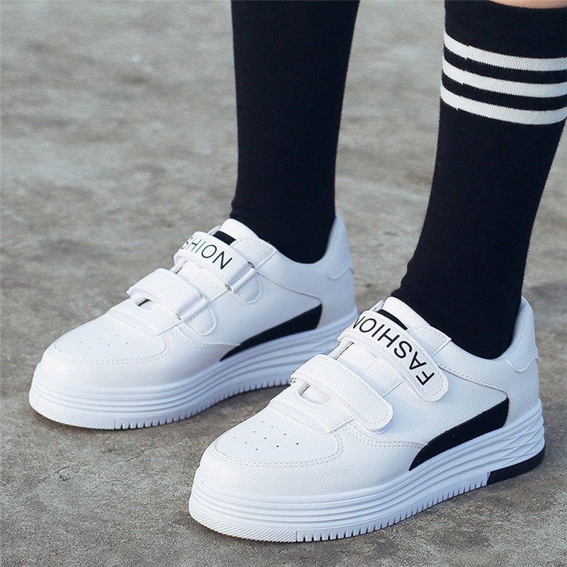 MEIL 2018 Casual Shoes Women Platform Shoes Creepers Pu Leather flat shoes women Breathable White ladies Shoes sneakers in Women 39 s Flats from Shoes