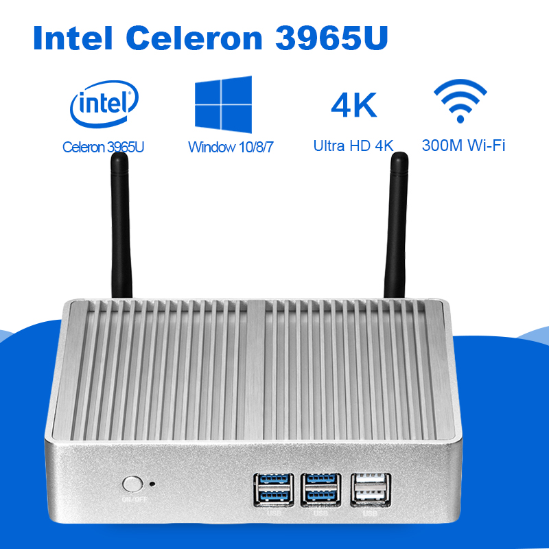Мини-ПК Intel Celeron 3965U 4 К UHD Intel HD Графика 610 Windows 10 Dual Core 2,20 ГГц HDMI VGA Беспроводной Wi-Fi безвентиляторный мини-ПК
