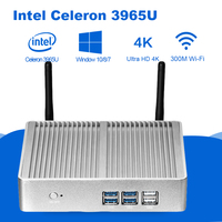 Mini PC Intel Celeron 3965U 4K UHD Intel HD Graphics 610 Windows 10 Dual Core 2.20GHz HDMI VGA Wireless WiFi Fanless Minipc