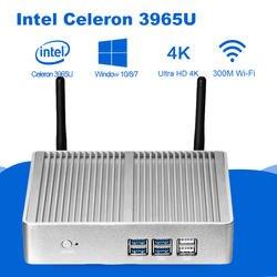 Мини-ПК Intel Celeron 3965U 4 К UHD Intel HD Графика 610 Windows 10 Dual Core 2,20 ГГц HDMI VGA Беспроводной Wi-Fi безвентиляторный мини-ПК