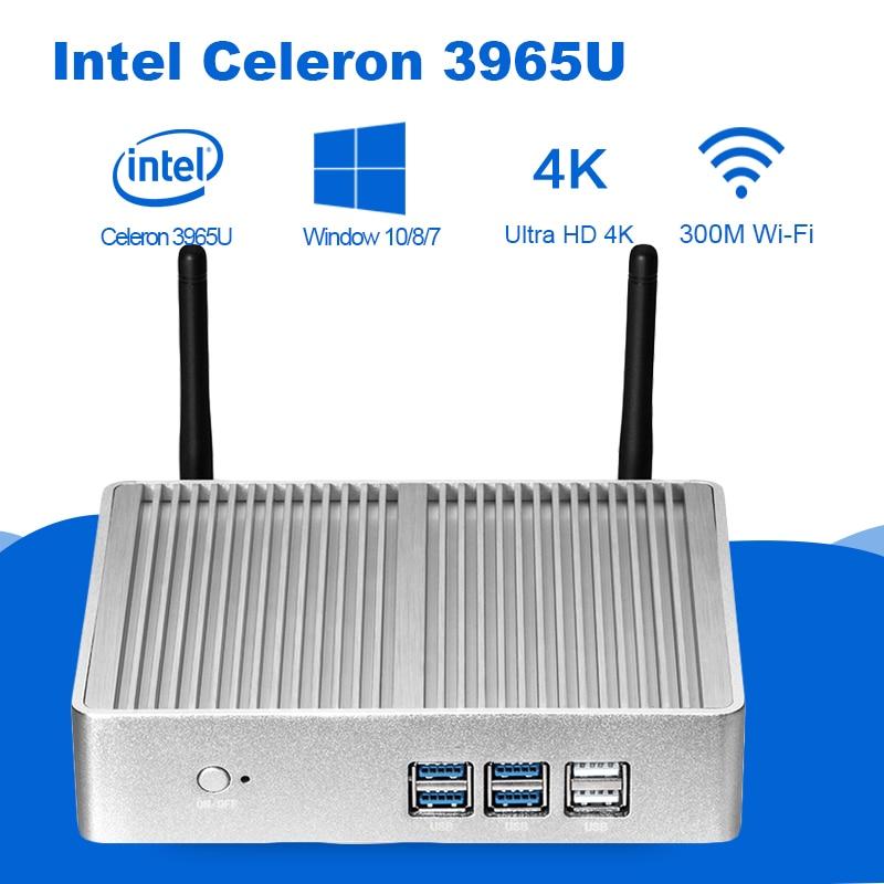 Mini PC Intel Celeron 3965U 4 K UHD Intel HD gráficos 610 Windows 10 Dual Core 2,20 GHz HDMI VGA inalámbrico WiFi Minipc sin ventilador