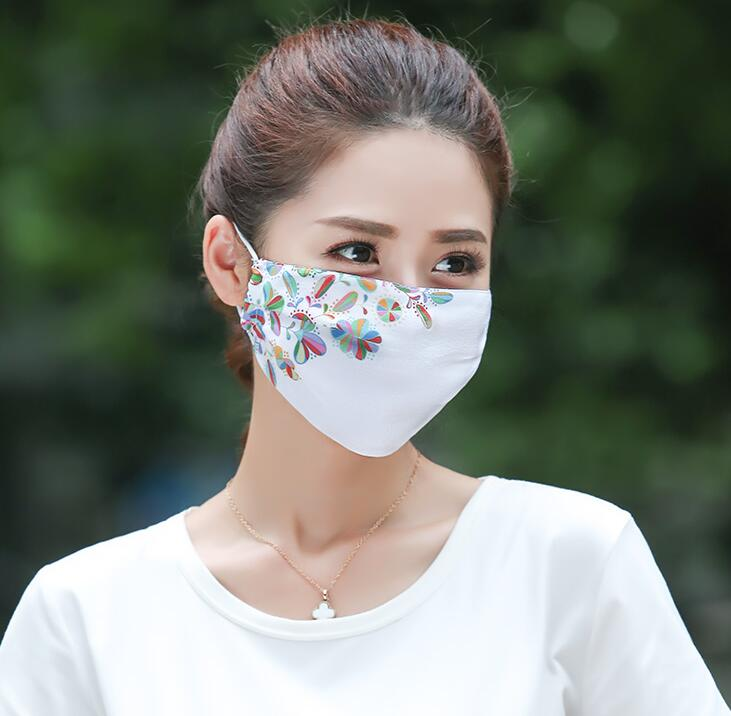 Men Women's Spring Summer 100% Silk Sunscreen Mask Lady's PM 2.5 Breathable Silk Mouth-muffle R1510
