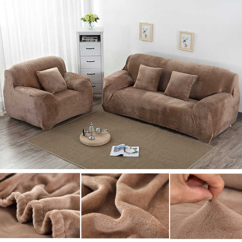 1pc Pluche Thicken Universele Bank Cover All-inclusive Elastische Sectionele  Bankhoes Anti-vuile Sofa Covers voor woonkamer Couch Cover