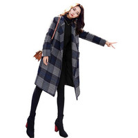 2018 New Winter Suit Collar Thickened Wool Suit Female Medium and Long Korean Hepburn Loose Popular Chequered Overcoat