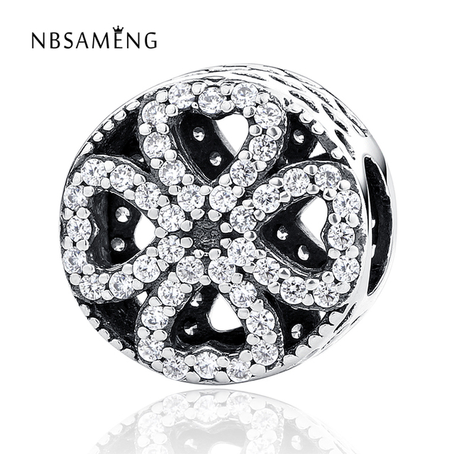 32457b5e2 Authentic 925 Sterling Silver Petals of Love Openwork White Crystal Bead  Charms Fit Pandora Bracelets & Bangles DIY Jewelry