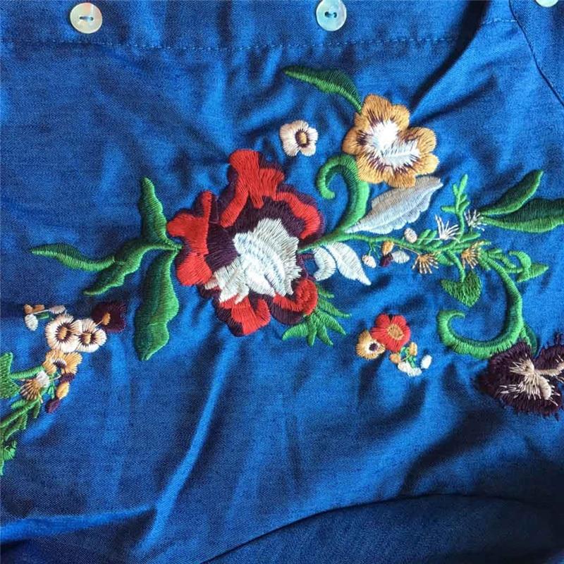 JAYCOSIN 2019 Spring Autumn Dress Women Fashion Jeans Embroidered Flower Lined Long Sleeve Dresses New Casual Denim Dress jun2#4