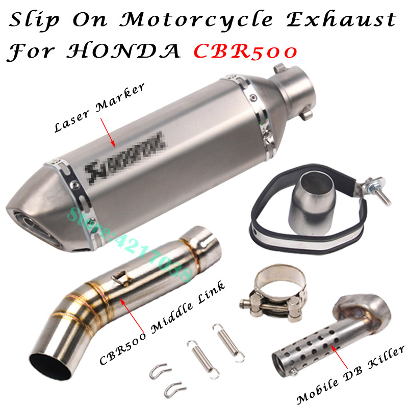 Motorcycle Exhaust Escape DB Killer 51mm Muffler Middle Link Pipe Modified Connection For Honda CBR500 CBR500R CB500X CB500F in Exhaust Exhaust Systems from Automobiles Motorcycles