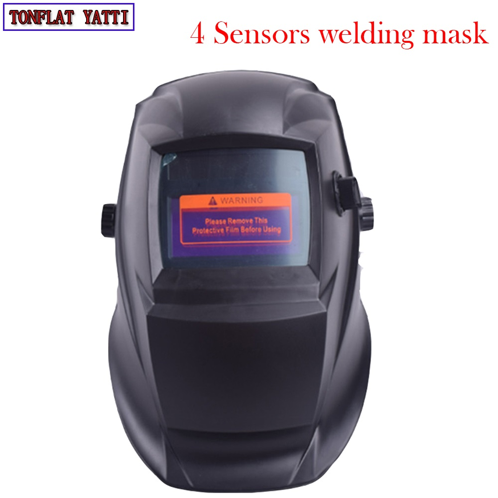 цена на New Big screen 4 Sensors solar auto darkening welding helmet TIG welding caps MIG welding hood MAG welding hats Grinding mask