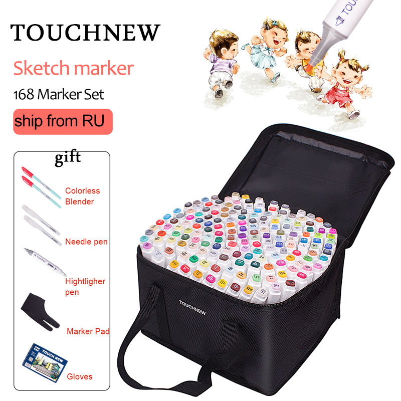 TOUCHNEW 40/60/80/168 Colors Art Markers Dual Headed Art Sketch Marker Alcohol Based Markers Drawing Pen Set Manga Design Pens