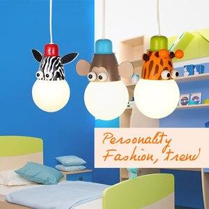Image 2 - Novelty LED Bulb Light Cartoon Animal Monkey Zebra Giraffe Children Kids Bedroom Pendant Lamp Hang Pendent Light Sleeping Light