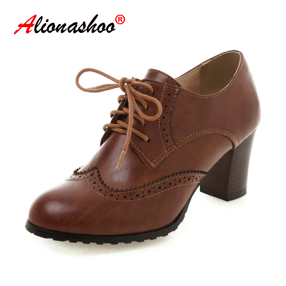 Plus Size 34-43 Spring Autumn Women Shallow Brogue Shoes Chunky Heel Cut Out Oxford Shoes Ladies Lace Up Female Fashion Footwear