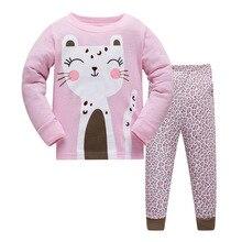 Купить с кэшбэком Fashion Children Autumn Pajamas Clothing Set Cartoon girls Sleepwear Suits Kids Long Sleeves+Pant Children Home Clothes