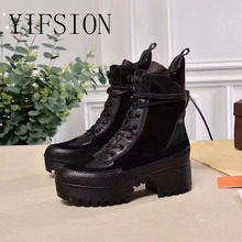 YIFSION Black Genuine Leather Women Ankle Boots Round Toe Lace Up Thick Mid Heel Autumn Winter Platform Shoes Woman