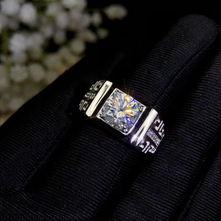 Takı ve Aksesuarları'ten Halkalar'de Moissanite, 925 Gümüş moda tasarımı, güçlü yangın renk, elmas, yüksek sertlik 2CT. VVS, D'da  Grup 1