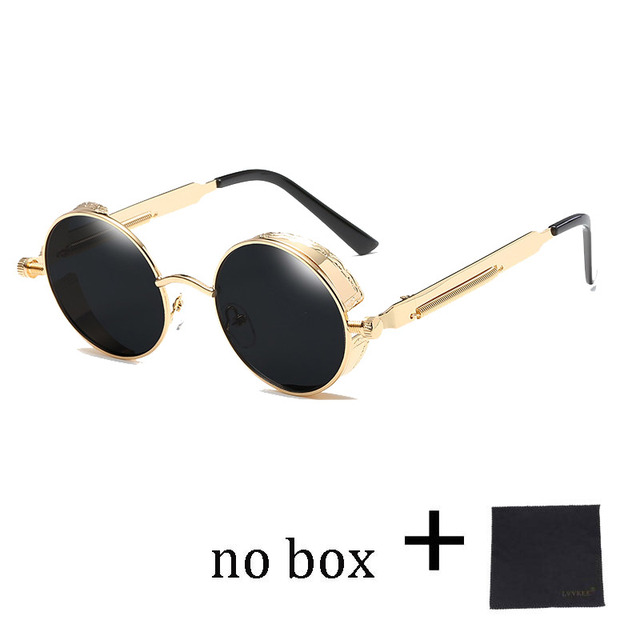 b98b971c2b Hight Quality Round Steampunk Sunglasses Women Vintage Sunglass Men Gothic  Gold Metal Circle Goggles Mirror 58028. Mouse over to zoom in