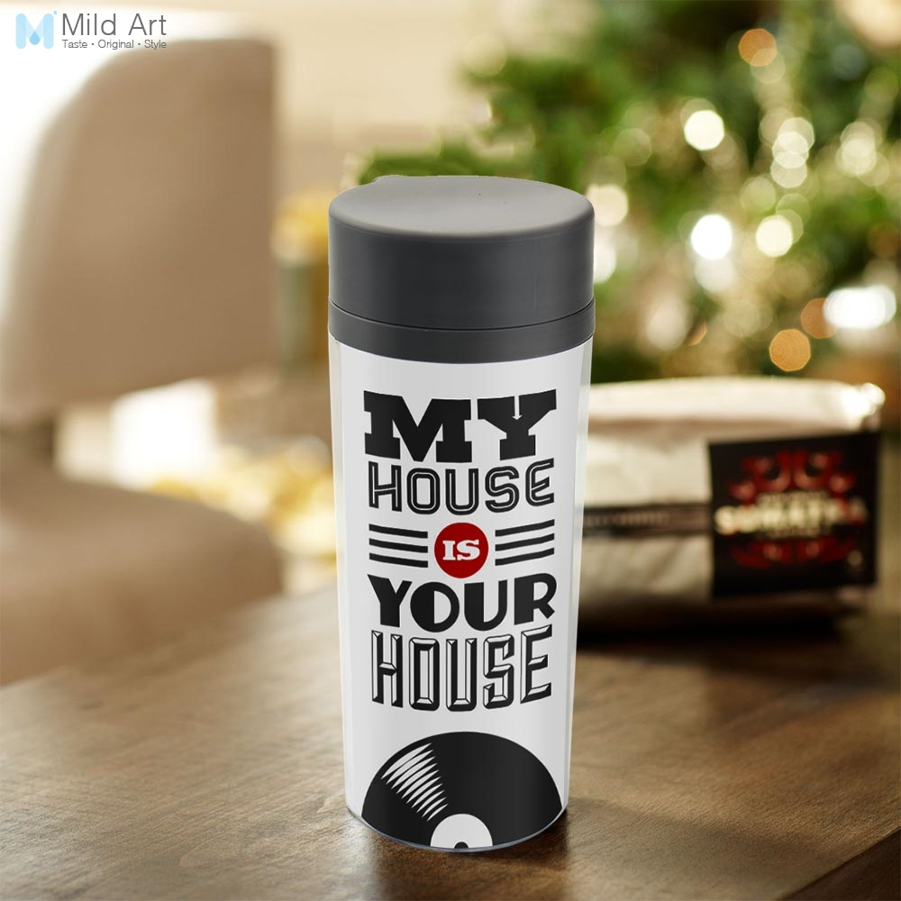 Clear BPA Free Plastic Insulated Modern Minimalist Black White Vintage Music Home Quotes Typography Water Bottle 300ml Gifts