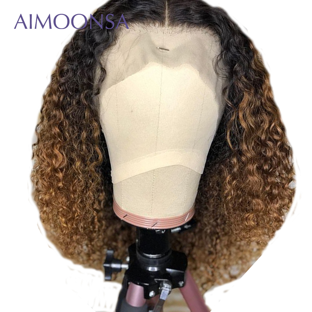 Honey Blonde Lace Front Wigs Ombre Human Hair Wig Mongolian Kinky Curly Hair Short Hair Wig Bob Natural Wig Remy Hair Aimoonsa