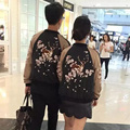 2016 Harajuku Women Embroidery Deerlet Bomber Jacket Satin Flight Japan Embroidered Baseball Flower Femme Ladies Coats Autumn