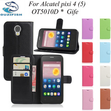 For Alcatel One Touch Pixi 4 OT5010d 5.0inch Phone Case Flip Leather Wallet Bag Cover for Alcatel OneTouch Pixi 4(5) OT 5010D