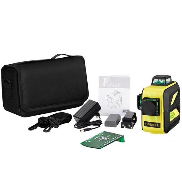 F93T-XR/F93T-XG 12 линий 3D литиевая батарея красный/зеленый лазерный уровень+ приемник+ Магнитный кронштейн+ 3M штатив - Color: Green 4