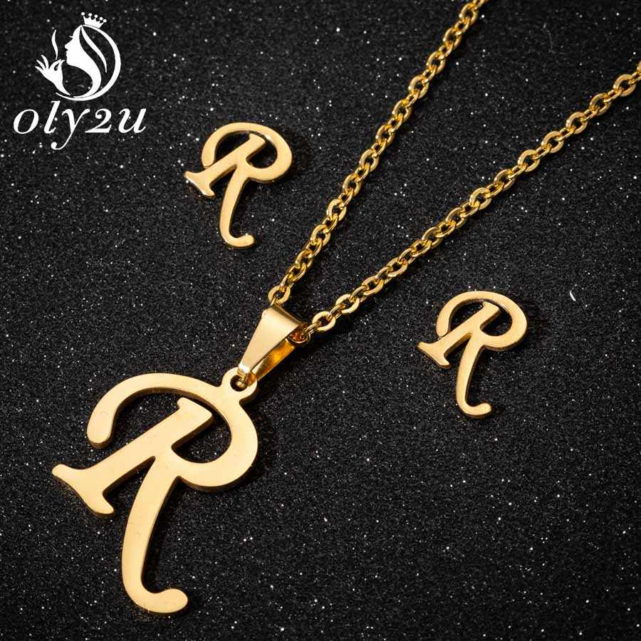 Oly2u נירוסטה כלה תכשיטי סטים לנשים זהב מכתב שרשרת קולר Stud עגילי תכשיטי אופנה שרשרת סט