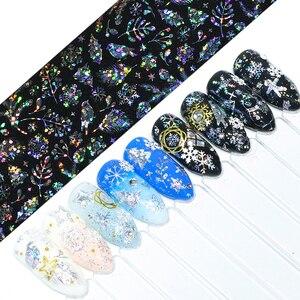 Image 4 - 50pc Holographische Nagel Folie Bunte Mix Design Laser Starry Papier Transfer Aufkleber Sliders Für Nail art Dekoration Decals JI921