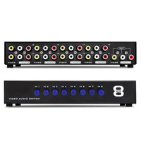 8 In 1 Out Composite Video Audio 3 RCA AV Switch Box Selector Repeater 8 Ports Video Audio Splitter Conventer For HDTV LCD DVD