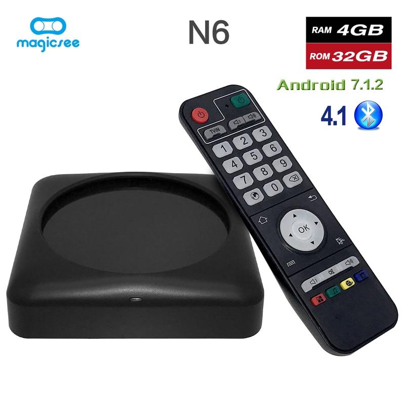 Magicsee N6 Max Android Smart TV Box 4G 32G RK3399 lecteur multimédia Wifi Bluetooth double bande UHD 4K VP9 décodeur