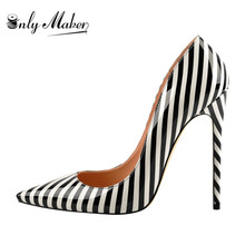 onlymaker 2019  summer Women Zebra Black White Stripe Elegant 12CM high heel Wedding Shoes US5~US15 Big Size Nice party