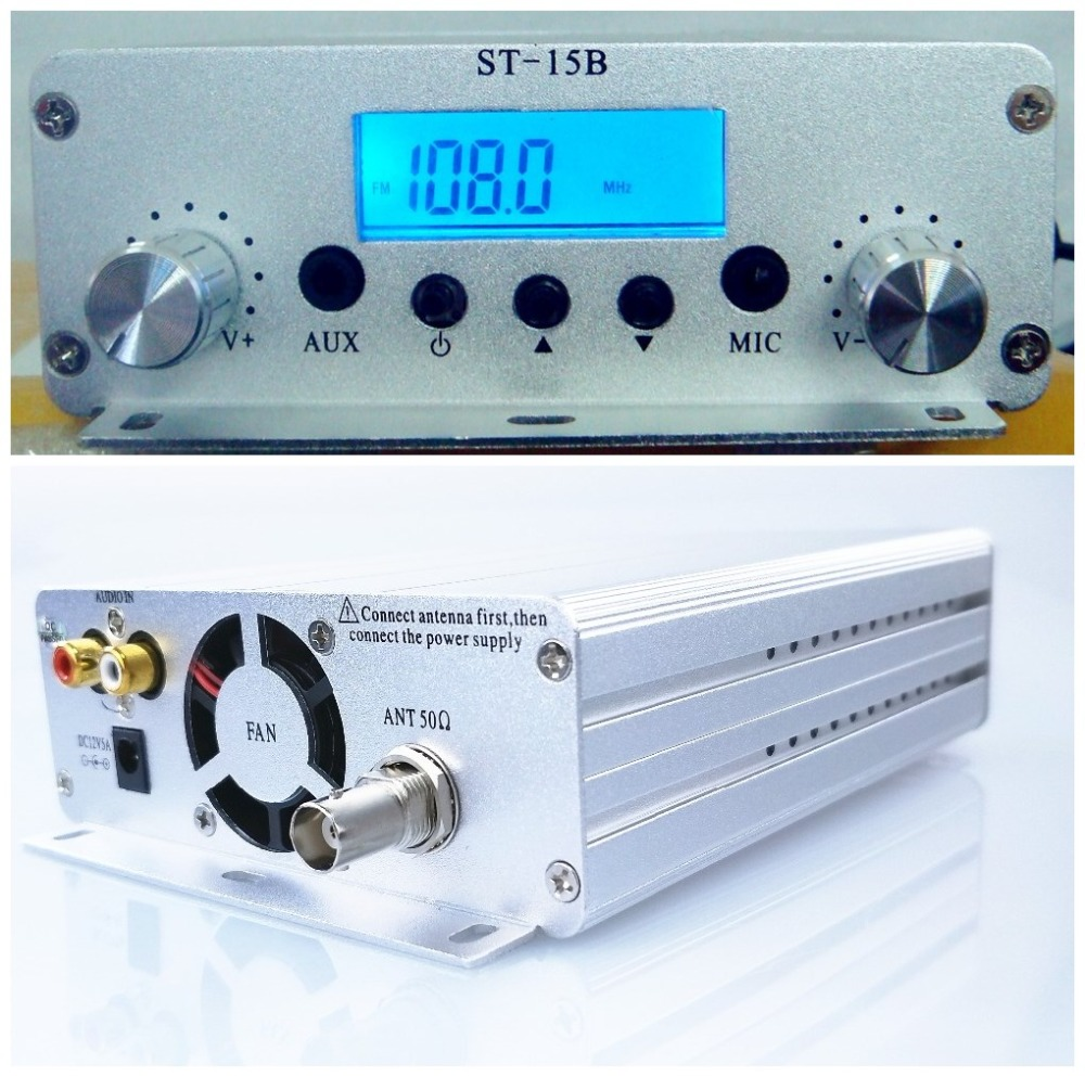 1.5W/15W Dual mode 12V 5A 87MHz-108MHz FM broadcast transmitter stereo PLL fm radio broadcast station ST-15B freeshipping tecsun pl 600 full band fm mw sw ssb pll synthesized stereo portable digital radio receiver pl600