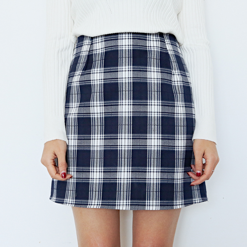 Preppy Style Women Plaid Skirts High Waist Slim Hip Skirt