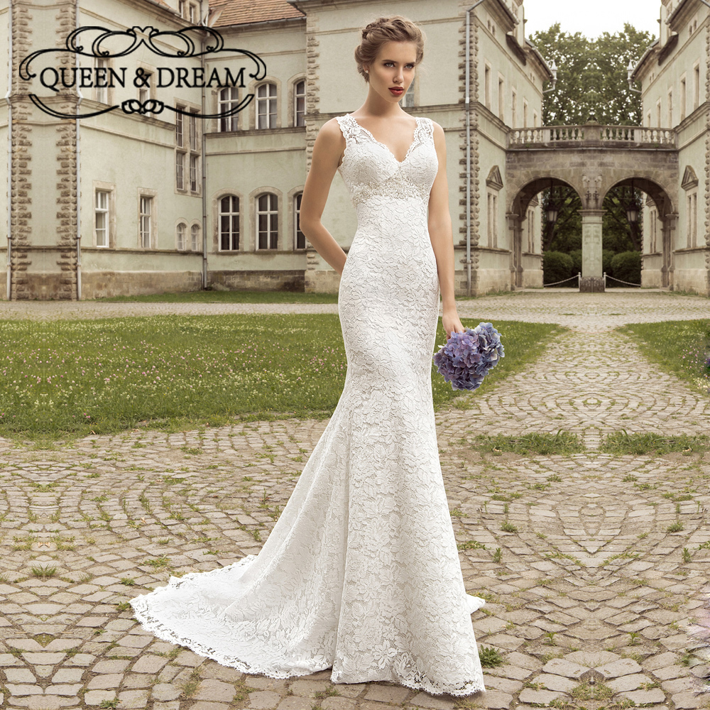 outside wedding dresses vintage lace apliques sash cetim decote em v sereia 6342