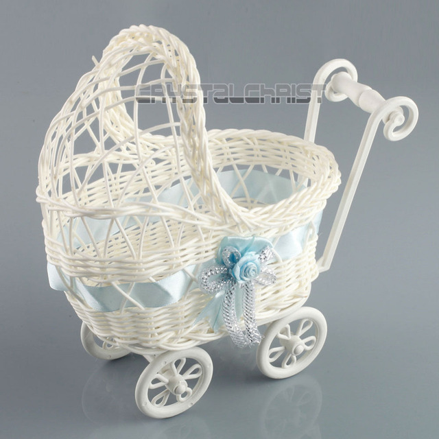 Baby Shower Party Decoration Boy Blue Wicker Carriage Centerpiece