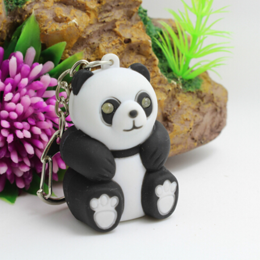 Men Women Souvenirs Cute Panda Keychain Toys With LED Light And Cute Sound Glowing Pendant Dolls Gift