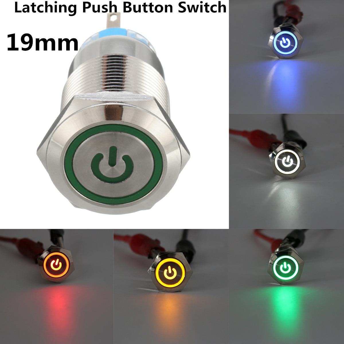 12mm Led Power Push Button Switch Waterproof Metal Momentary Type In Dc 24v Selflock Light Latching 12v 5pin 19mm Ledlatching Universal Car Self Locking