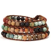Rinhoo Vintage chaud 7 Chakra Bracelet pour hommes femmes pierre naturelle Yoga perles Bracelets Boho à la main envelopper corde Bracelets bijoux