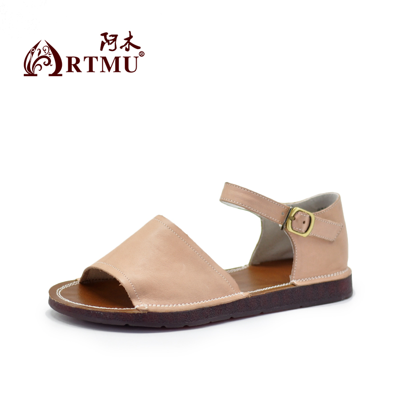 Artmu Comfortable Simple Cowhide Flat Sole Women Sandals Soft Sole Leisure Sandals Handmade New Buckle Leather Shoes 8312-in Low Heels from Shoes    2
