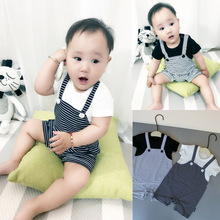 2017 New style Baby Boy Girl Clothes Cotton Short sleeved Cartoon Printing Bear Baby Rompers Newborn