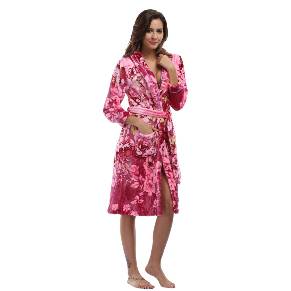 114d7752850a Women s Flannel Robe Luxury Winter Sleepwear Warm Loungewear Coral velvet Bathrobe  Floral Print Long Dressing Gown Plush Robe